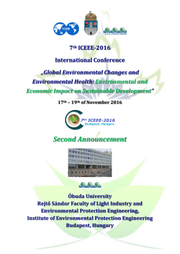 Second Announcement - International Council of Environmental