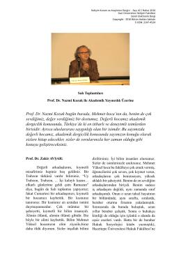 Prof. Dr. Nazmi Kozak ile `Akademik Yayıncılık`