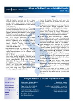 Dünya ve Türkiye Ekonomisindeki Gelişmeler Ekim 2016