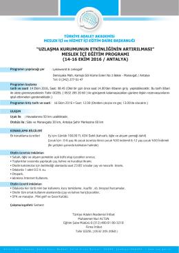 14-16 ekim 2016 / antalya - Türkiye Adalet Akademisi