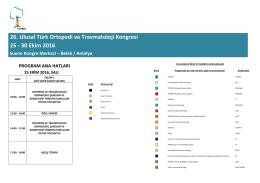 26. Ulusal Türk Ortopedi ve Travmatoloji Kongresi 25