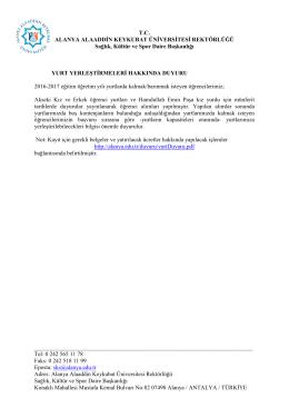 TC ALANYA ALAADDİN KEYKUBAT ÜNİVERSİTESİ REKTÖRLÜĞÜ