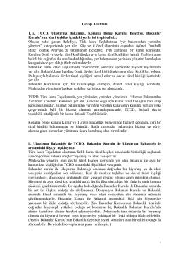 Cevap Anahtarı 1. a. TCCD, Ulaştırma Bakanlığı, Koruma Bölge