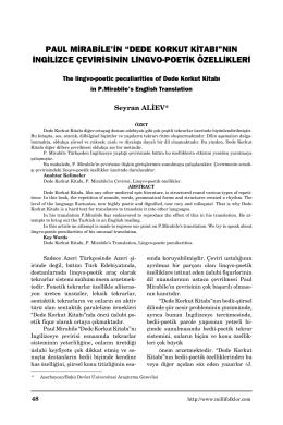 Paul Mirable`nin Dede Korkut Kitabının İngilizce