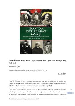 76 İran`da İstihbarat Savaşı, Birinci Dünya Savaşı`nda