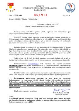 Resmi Yazı için Tıklayınız - Türkiye Üniversite Sporları Federasyonu