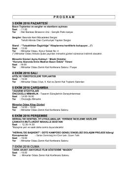 program 3 ekim 2016 pazartesi 4 ekim 2016 salı 5