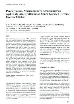Paneuro ni um, V ecuronium ve Atracurium `un