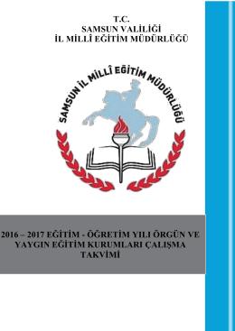 2016-2017 Çalışma Takvimi - samsun il millî eğitim müdürlüğü