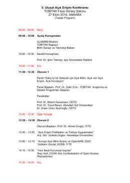 Program - 5. Ulusal Açık Erişim Konferansı