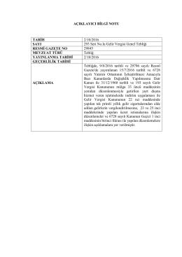 AÇIKLAYICI BİLGİ NOTU TARİH 2/10/2016 SAYI 293 Seri No.lu