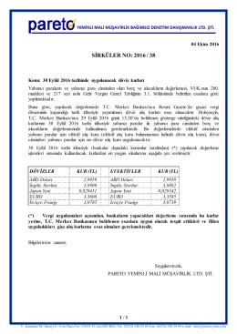 sırk-16-38 30 eylul 2016 tarihinde uygulanacak döviz kurları