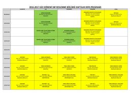 2016-2017 güz dönemi sbf beslenme bölümü haftalık ders programı