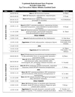 Uygulamalı Radyofarmasi Kurs Programı 30 Eylül