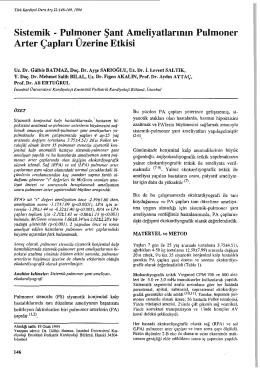 Pulmoner Arter Çapları Uzerine Etkisi