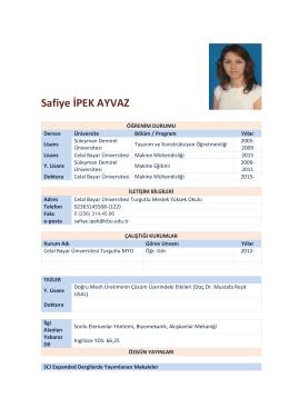 Safiye İPEK AYVAZ - Celal Bayar Üniversitesi