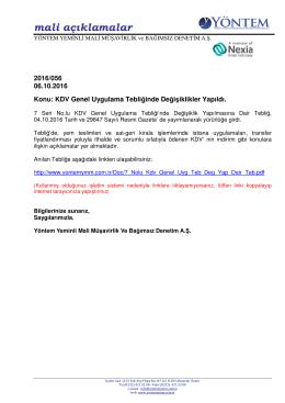 2016-056 KDV Genel Uygulama Tebliğinde Değişiklikler Yapıldı.