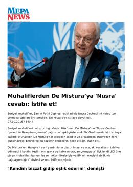 Muhaliflerden De Mistura`ya `Nusra` cevabı: İstifa et!