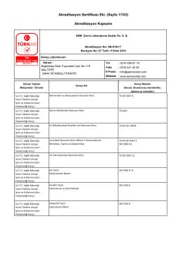 Akreditasyon Sertifikası Eki. (Sayfa 1/103) Akreditasyon Kapsamı
