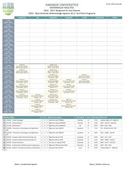 Raylı Sistemler Mühendisliği Bölümü (İngilizce) 1. Sınıf II. Öğretim