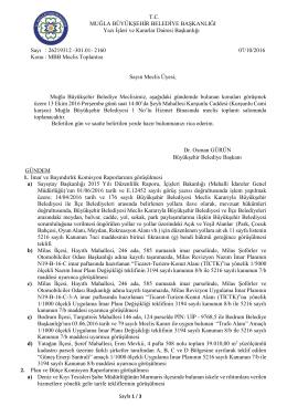 13 Ekim 2016 Muğla Büyükşehir Belediyesi Meclis Toplantısı Meclis