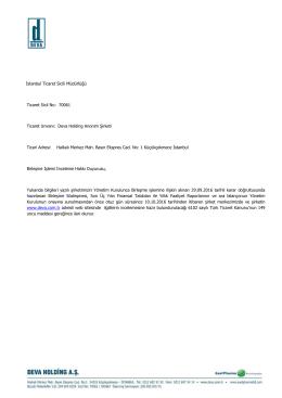 İstanbul Ticaret Sicili Müdürlüğü Ticaret Sicil No: 70061