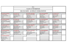 Yemek Listesi - Yalova Üniversitesi