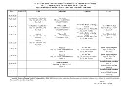Ameliyathane Hizmetleri - I. Sınıf Haftalık Ders Programı