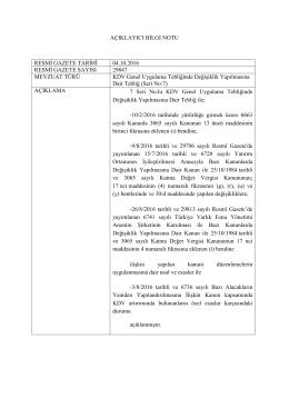 AÇIKLAYICI BİLGİ NOTU RESMİ GAZETE TARİHİ 04.10.2016