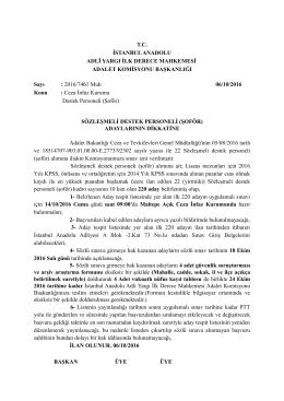 Ceza ve Tevkifevleri Sözleşmeli Destek Personeli (Şoför)