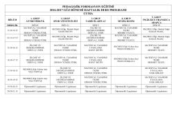 pedagojik formasyon eğitimi 2016-2017 güz dönemi haftalık ders