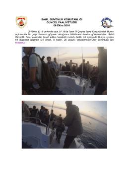 05 Ekim 2016 - Sahil Güvenlik Komutanlığı