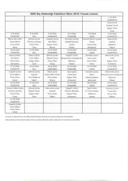 ODÜ Diş Hekimliği Fakültesi Ekim 2016 Yemek Listesi