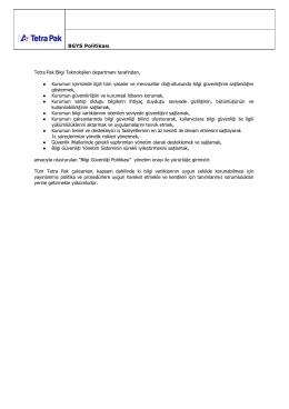 BGYS Politikası Tetra Pak Bilgi Teknolojileri departmanı tarafından