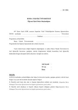 TC no : İmza - Bursa Teknik Üniversitesi