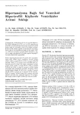 Hipertansiyona Bağlı Hipertrofili Kişilerde Sol