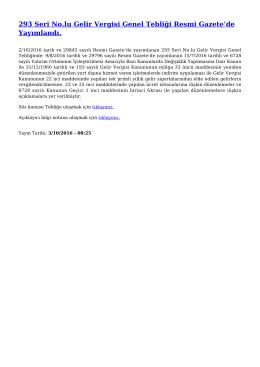 293 Seri No.lu Gelir Vergisi Genel Tebliği Resmi Gazete`de