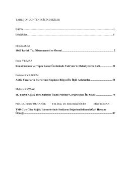 TABLE OF CONTENTS/İÇİNDEKİLER Künya