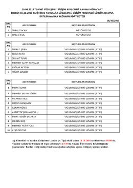 29.08.2016 tarihli sözleşmeli bilişim personeli ilanına müracaat