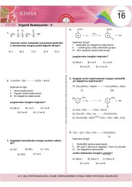 Organik Reaksiyonlar - V - Ölçme, Değerlendirme ve Sınav