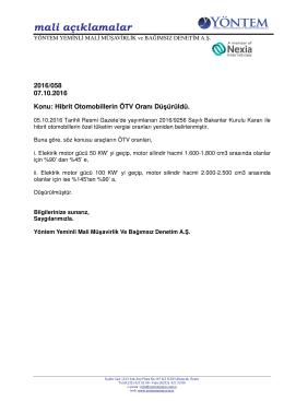 2016-058 Hibrit Otomobillerin ÖTV Oranı Düşürüldü.