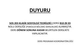 duyuru - Hacettepe Üniversitesi Sosyoloji Bölümü