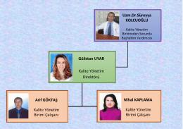 Uzm.Dr.Süreyya KOLCUOĞLU Gülistan UYAR Kalite Yönetim