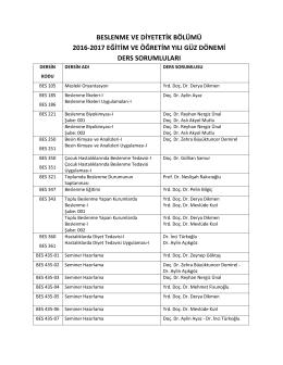 beslenme ve diyetetik bölümü 2016-2017 eğitim ve öğretim yılı güz