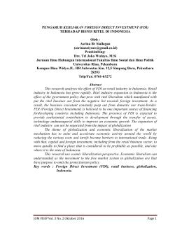PENGARUH KEBIJAKAN FOREIGN DIRECT INVESTMENT (FDI