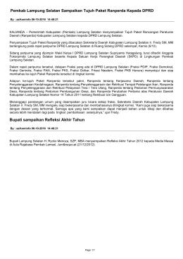 Pemkab Lampung Selatan Sampaikan Tujuh Paket Ranperda
