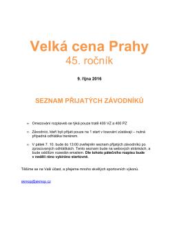 Přijatí závodníci Velká cena Prahy