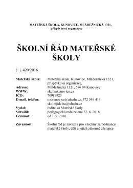Školní řád - Mateřská škola Kunovice