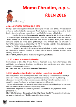 Momo Chrudim, ops ŘÍJEN 2016 4.10. – KROUŽEK PLSTĚNÍ PRO