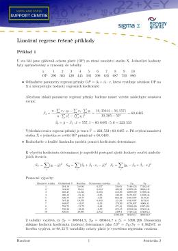 Lineární regrese řešené příklady